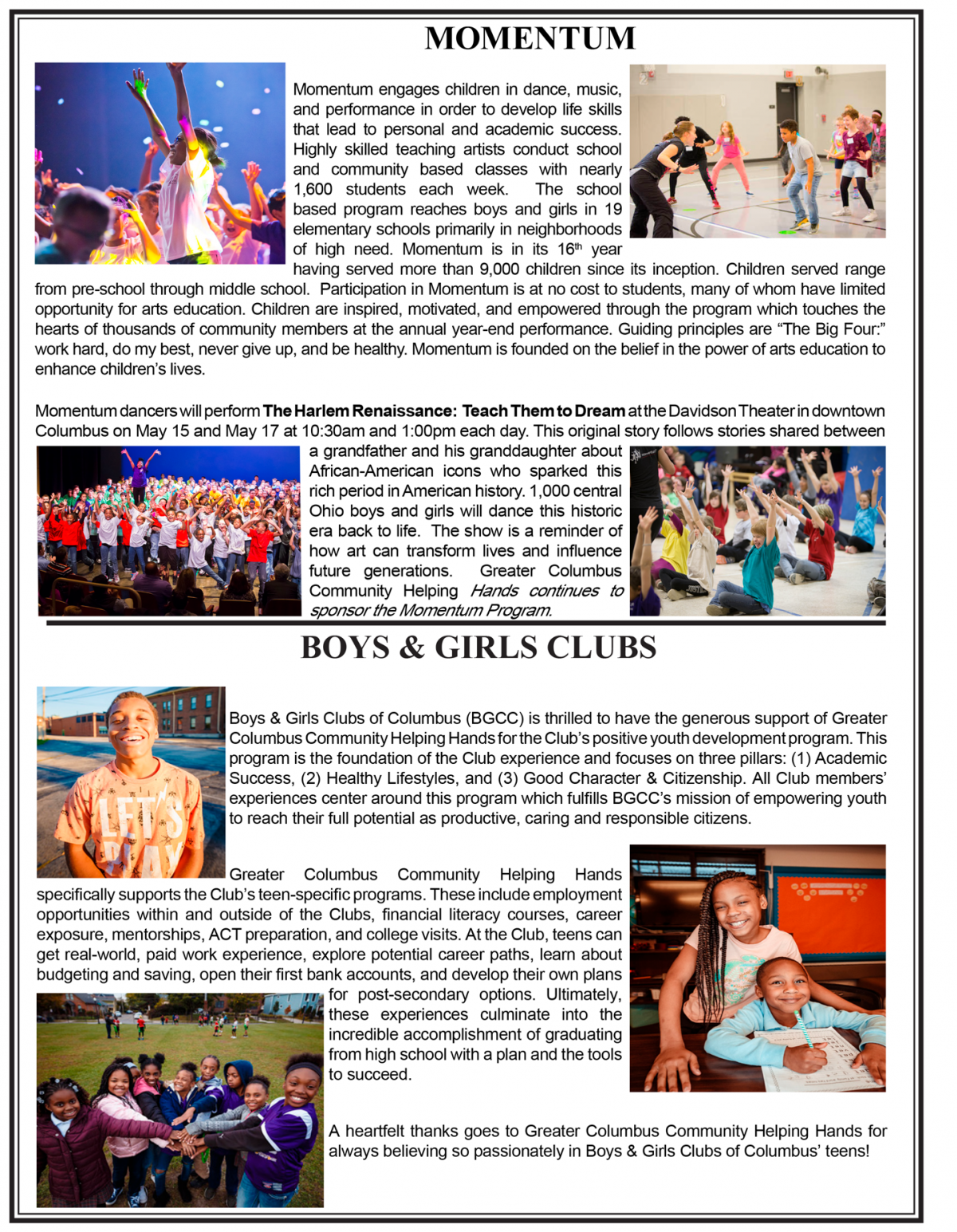 Momemtum & Boys Girls Club 2019